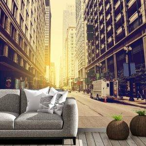 City Street Sunrise Wall Mural Photo Wallpaper UV Print Decal Art Décor