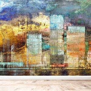 Artistic Painting of Skyscrapers Wall Mural Wallpaper UV Print Decal Art Décor