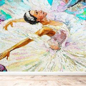 Ballerina & White Swan Wall Mural Photo Wallpaper UV Print Decal Art Décor
