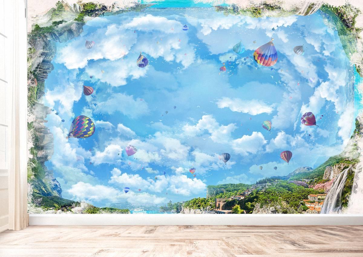 Ceiling Landscape & Balloons Wall Mural Photo Wallpaper UV Print Decal Art Décor