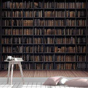 Bookshelves in the Library Wall Mural Photo Wallpaper UV Print Decal Art Décor