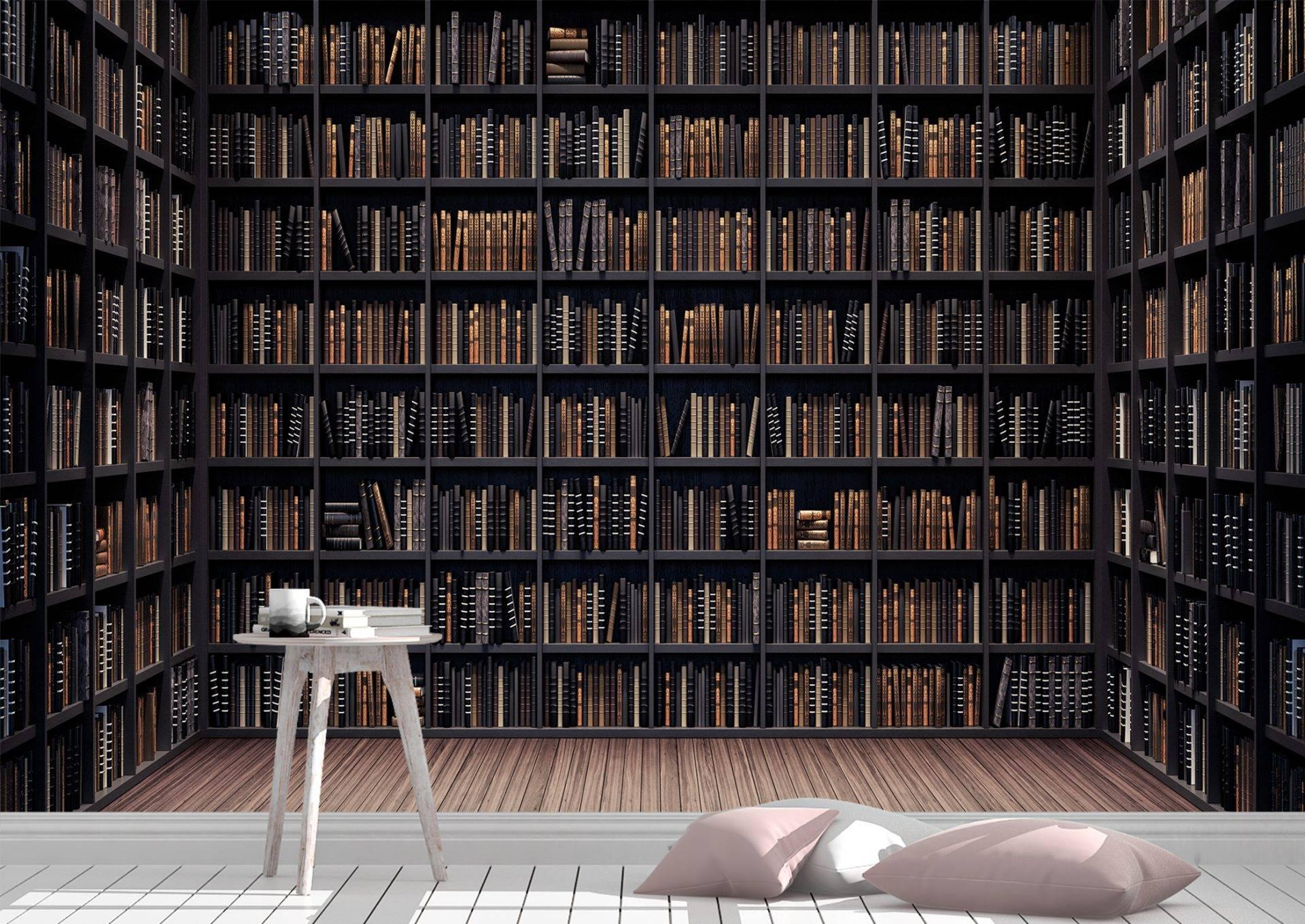 Bookshelves in the Library Wall Mural Photo Wallpaper UV Print Decal Art Décor