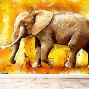 Modern Painting of Elephant Wall Mural Photo Wallpaper UV Print Decal Art Décor