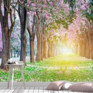 Flowers Blooming Tunnel Tree Wall Mural Photo