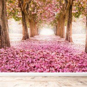 Tunnel of Pink Flower Trees Wall Mural Photo Wallpaper UV Print Decal Art Décor
