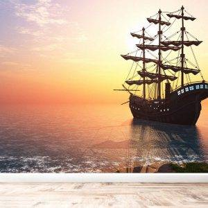 Vintage Sailboat in the Sea Wall Mural Photo Wallpaper UV Print Decal Art Décor