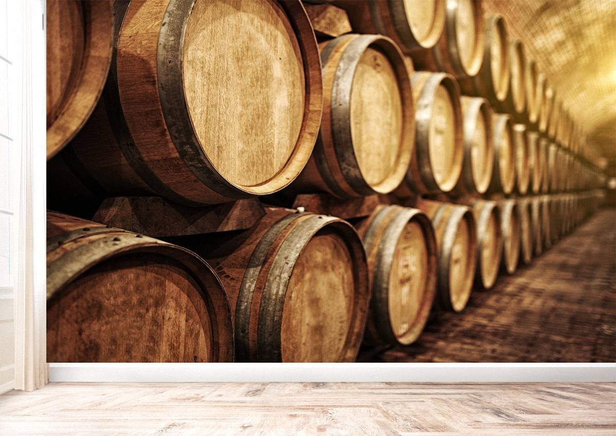 Old Wine Oak Barrels Wall Mural Photo Wallpaper UV Print Decal Art Décor