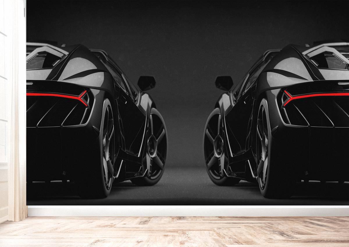 Black Lamborghini Back Theme Wall Mural Photo Wallpaper UV Print Decal Art Décor