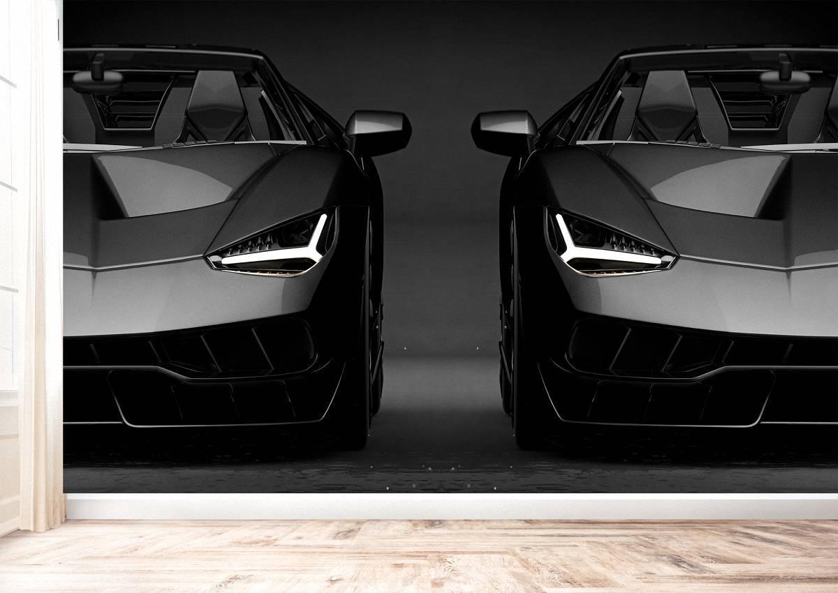 Black Lamborghini Front Theme Wall Mural Photo Wallpaper UV Print Decal Décor