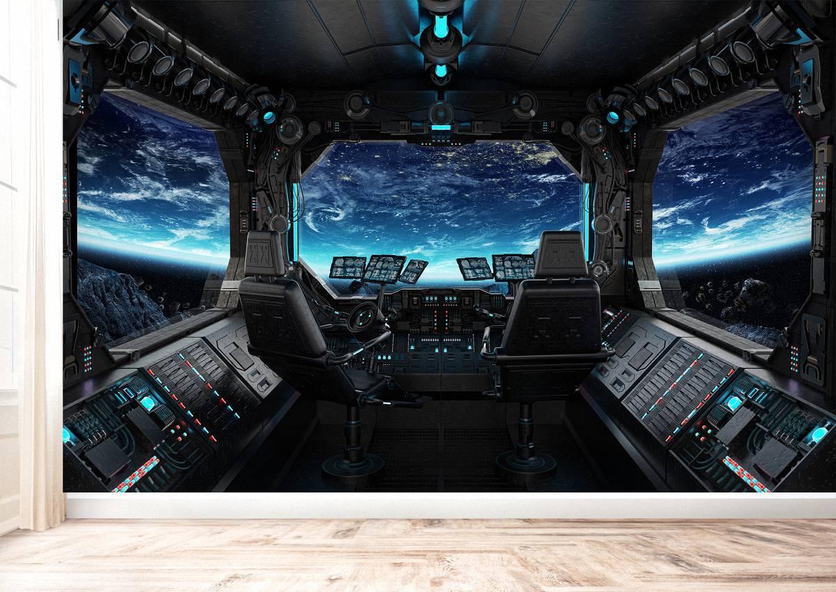 Future Starship Cockpit Wall Mural Photo