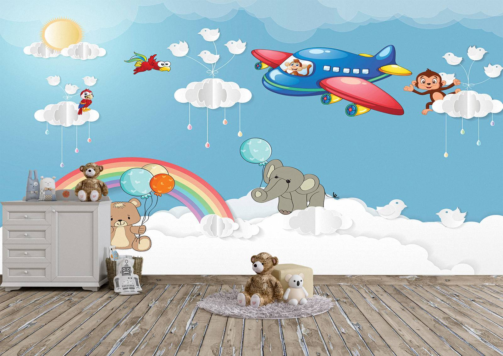Airplane with Animals Kids Wall Mural Photo Wallpaper UV Print Decal Art Décor