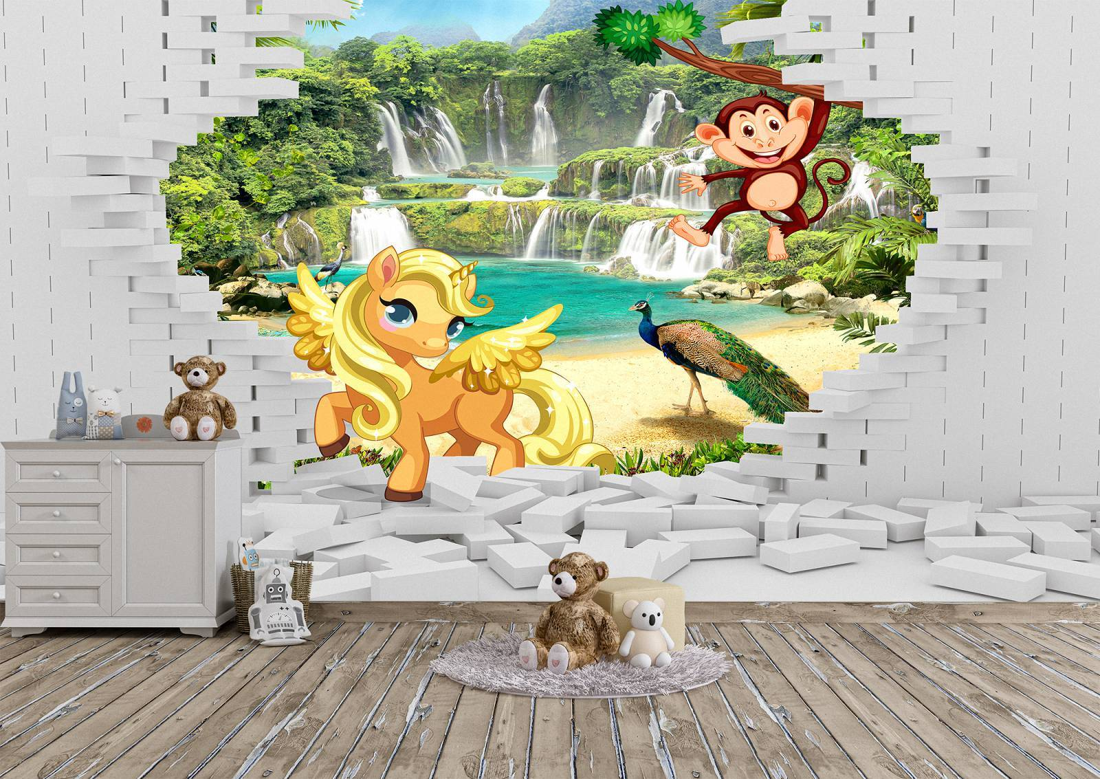 Animals Coming Out the Wall Mural Photo Wallpaper UV Print Decal Art Décor