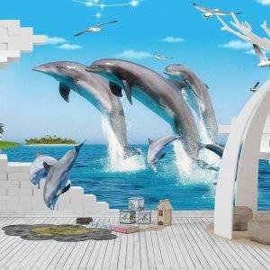 3D Dolphin Theme Kids Room Wall Mural Photo Wallpaper UV Print Decal Art Décor