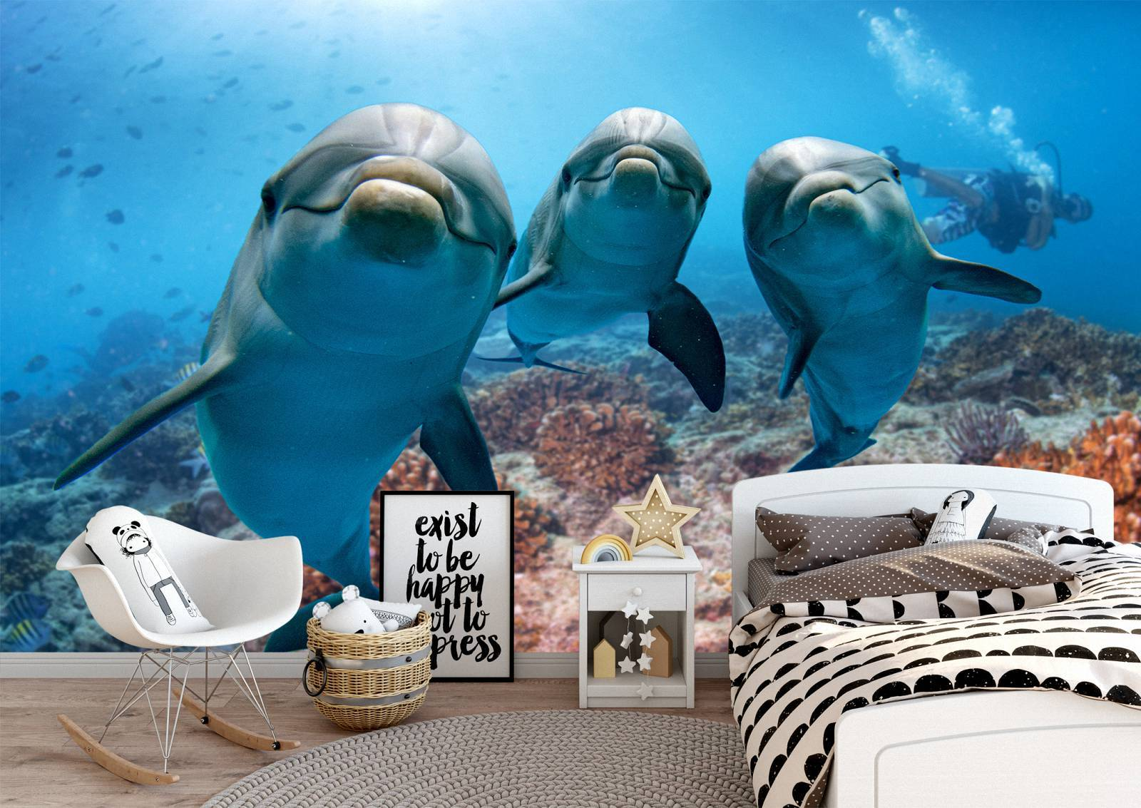 Happy Dolphins Underwater Wall Mural Photo Wallpaper UV Print Decal Art Décor