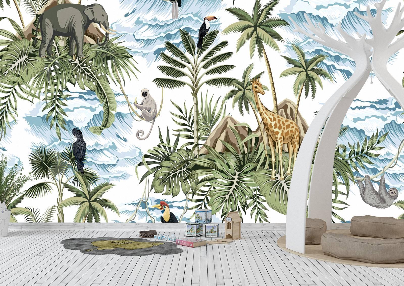 African Animals Theme Wall Mural Photo Wallpaper UV Print Decal Art Décor