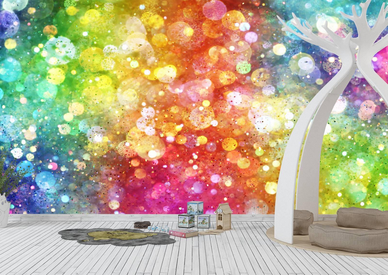 Abstract Rainbow Colours Kids Wall Mural Photo Wallpaper UV Print Decal Art Décor