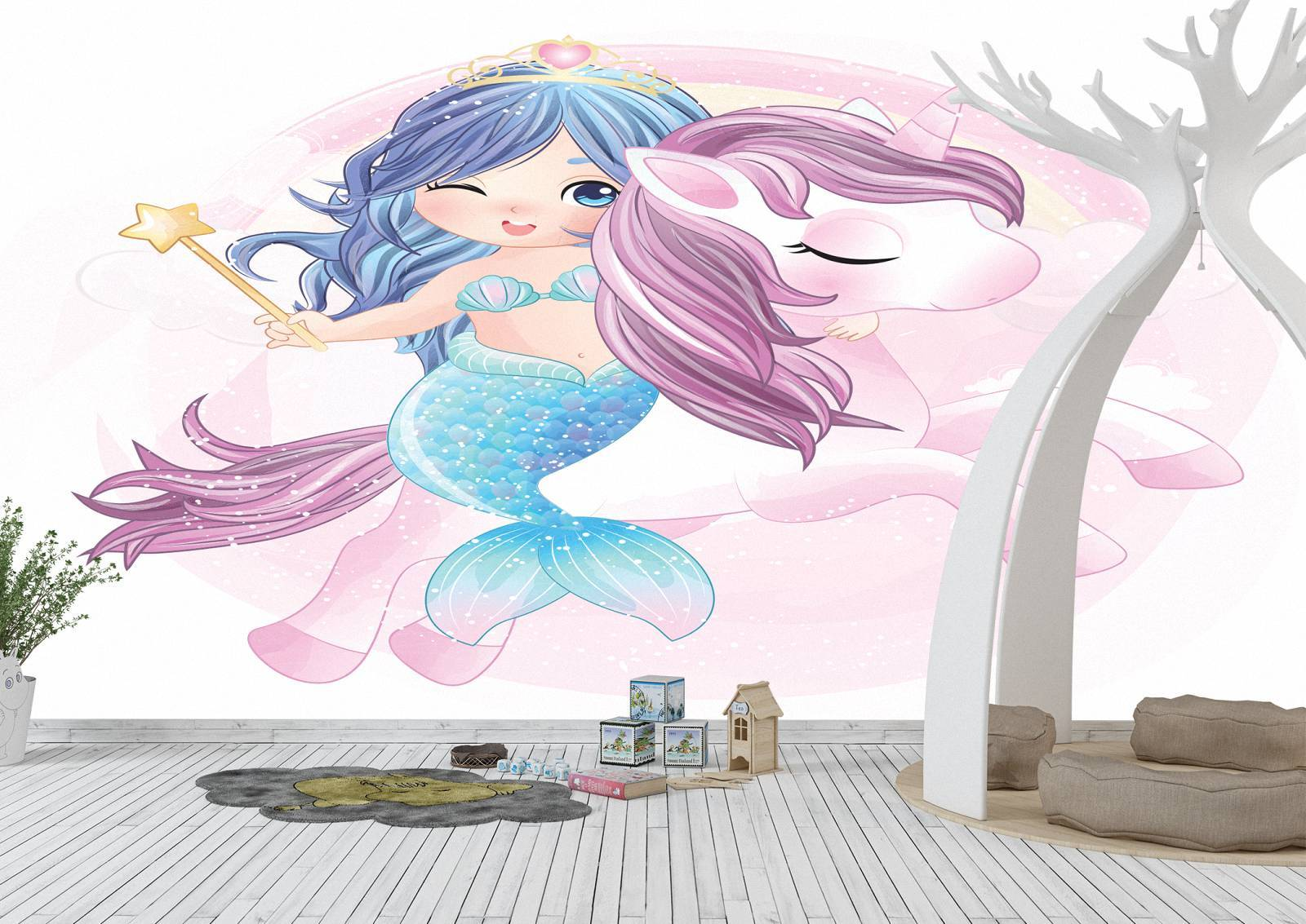 Magic Mermaid and Unicorn Wall Mural Photo