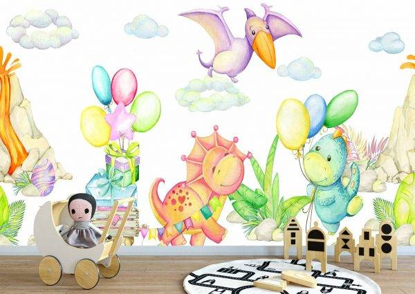 Happy Dinosaurs World Wall Mural Photo Wallpaper UV Print Decal Art Décor
