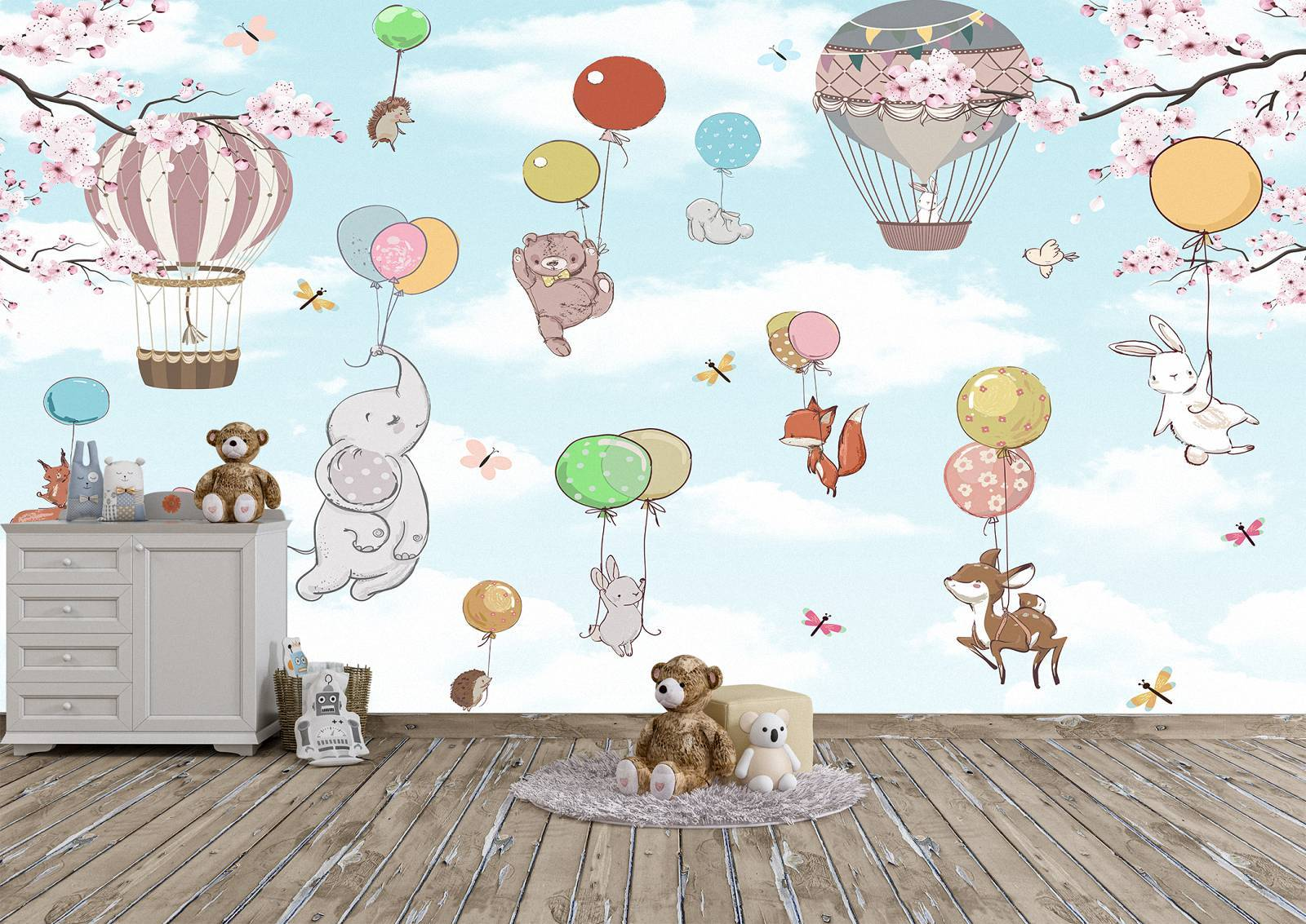 Animals Flying on Balloons Wall Mural Photo Wallpaper