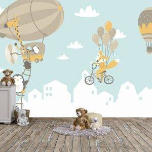 Funny Animals For Kids Wall Mural Photo Wallpaper UV Print Decal Art Décor
