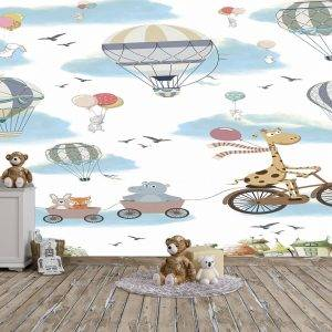 Animals in the Sky Kids Room Wall Mural Photo Wallpaper UV Print Decal Art Décor