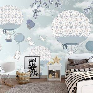 Bunnies Flying on Balloons Wall Mural Photo Wallpaper UV Print Decal Art Décor