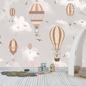 Animals in Balloons Kids Room Wall Mural Photo