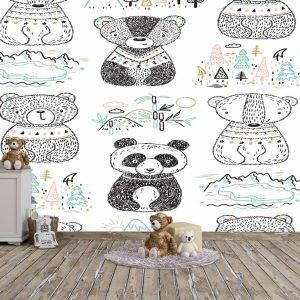 Scandinavian Bear World Kids Wall Mural Photo Wallpaper UV Print Decal Art Décor