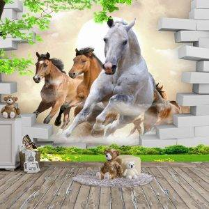 Horses Coming Out The Wall Mural Photo Wallpaper UV Print Decal Art Décor