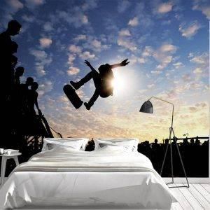 Skateboarder jumping on ramp Wall Mural Photo Wallpaper UV Print Decal Art Décor