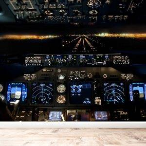 Airport and Cockpit at Night Wall Mural Photo Wallpaper UV Print Decal Art Décor