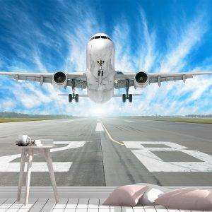 Runway and Airplane Theme Wall Mural Photo Wallpaper UV Print Decal Art Décor
