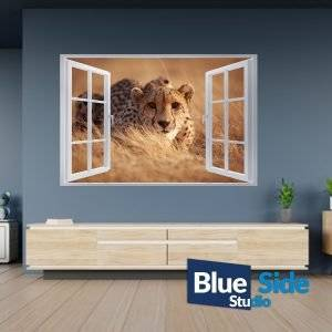 Cheetah in Field Nature 3D Window Effect Self Adhesive Wall Sticker Decal Mural