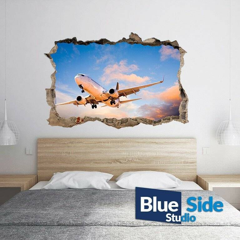 Passenger Plane in the Sky 3D Hole in The Wall C Effect Wall Sticker Decal Mural